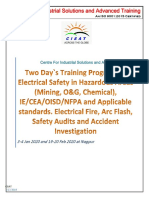 Jan EE 02. Training Program on Arc Flash, Electrcal Safety in Hazardous Areas (Mining, O&G) 3-4 Jan, 19-20 Feb 2020 Nagpur