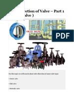 PART 85 Flow direction of Valve – Part 1 ( check valve )