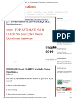 300+ TOP ESTIMATING & COSTING Multiple Choice Questions Answers