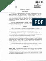 Contrato de Comodato firmado por la Municipalidad y la Fundación La Capital
