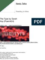 The Type by Sarah Kay (Poem#24) | Nerdy Talks