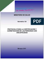 N-134, PROTOCOLO PARA LA CERTIFICACION Y CARNETIZACION DE LA