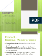 Personal Narrative Notes 2014