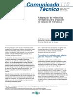 Adaptação de máquinas forrageiras para produção de raspas de mandioca