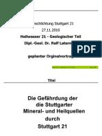 Die Gefährdung der die Stuttgarter Mineral- und Heilquellen durch Stuttgart 21