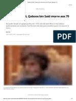Sultão de Omã, Qaboos bin Said morre aos 79 anos