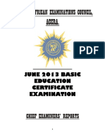 BECE CHIEF EXAMINERS REPORT 2013