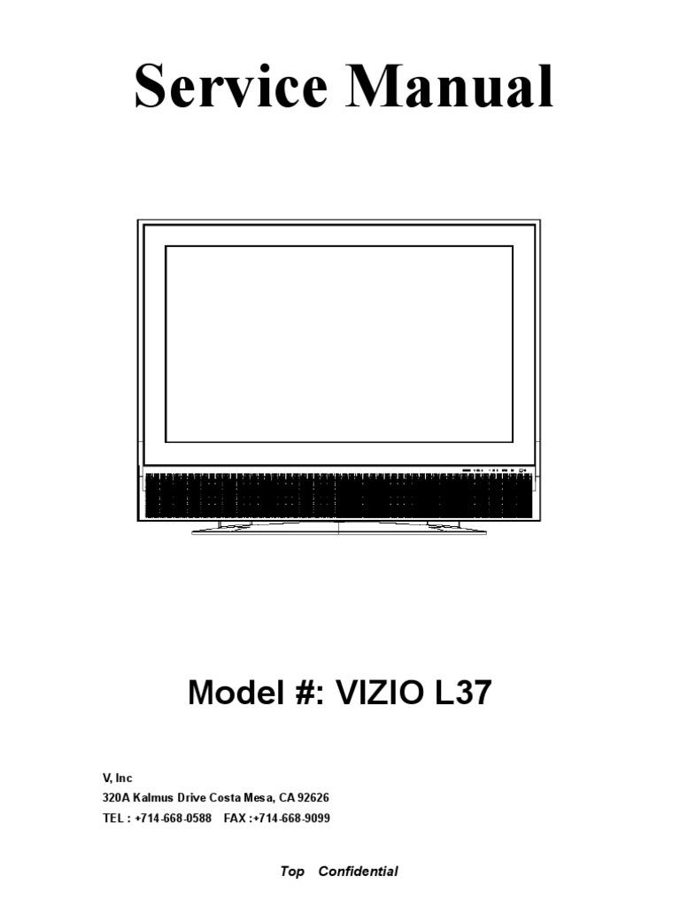 vizio l37hdtv video digital television rh es scribd com Vizio 1080P Manual Vizio VX37L Service Manual