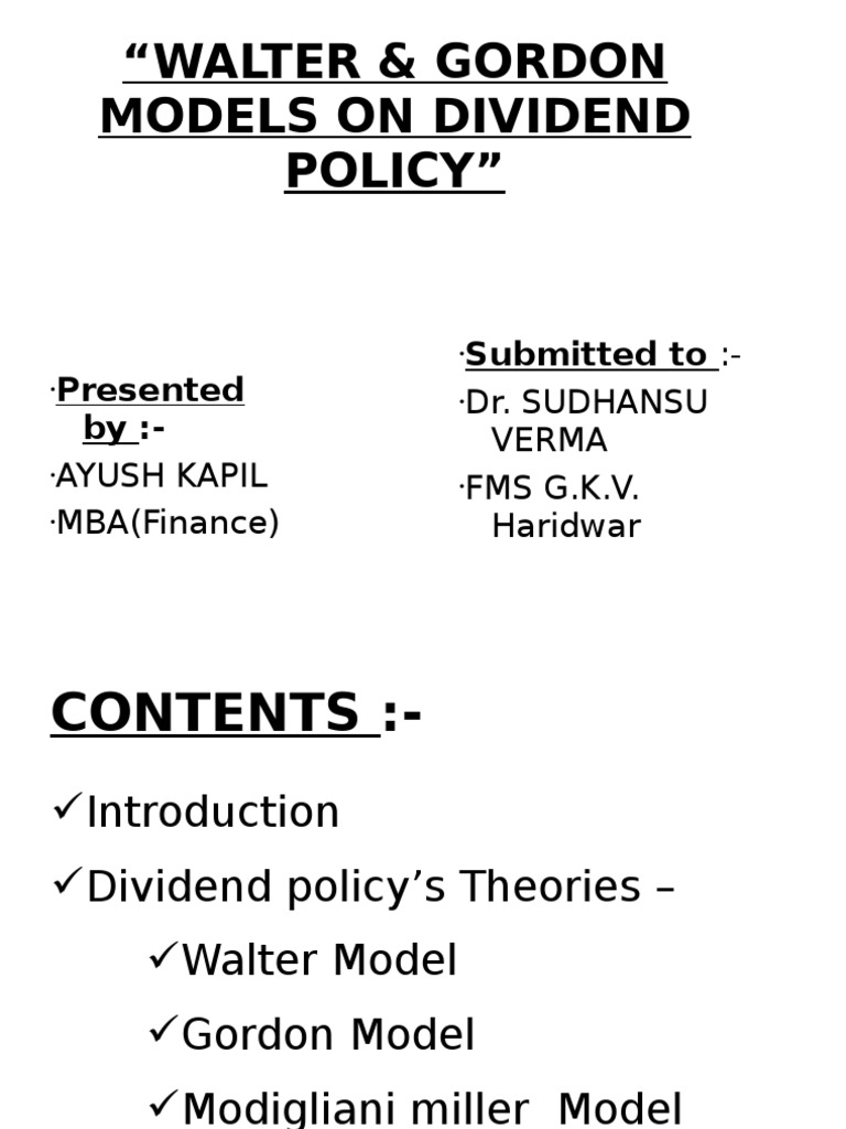 Dividend Policy By Walter Gordon Financial Economics Economics