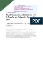 revolucion industrial y cambio climatico