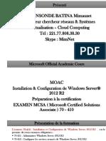 Cours  Windows Server 2012 R2 Aperçu Général de la  Formation