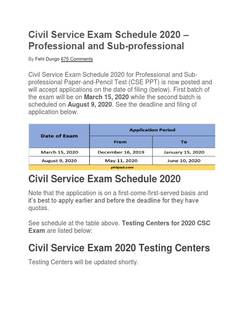 Civil Service Exam Schedule 2020 Docx Government Politics
