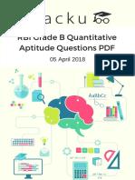 RBI Grade B Quantitative Aptitude Questions PDF