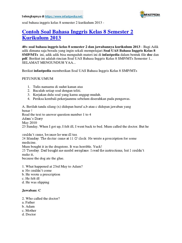 Soal Bahasa Inggris Kelas 8 Semester 2 Kurikulum 2013 Grammar Language Mechanics