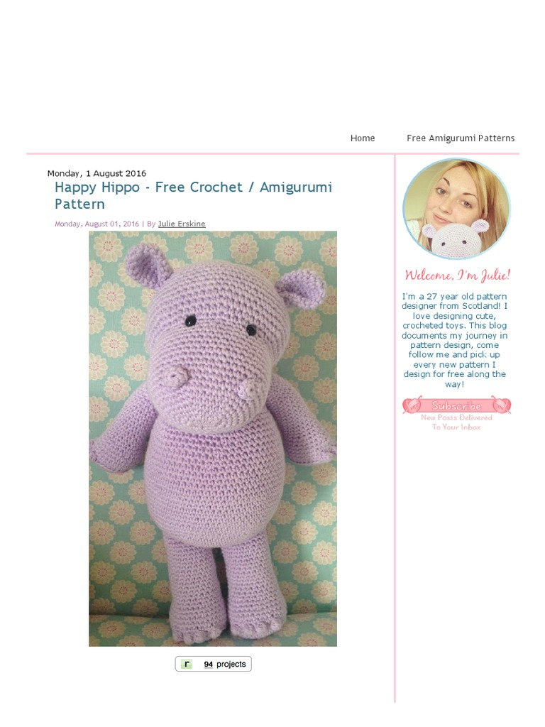 Ballerina Hippo - Amigurumi Pattern - Delicious Crochet   1024x768