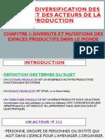 DIVERSIFICATION DES ESPACES ET DES ACTEURS DE LA PRODUCTION DANS LE MONDE