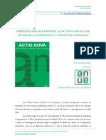 Presentación de ACTIO NOVA. REVISTA DE TEORÍA DE LA LITERATURA Y LITERATURA COMPARADA, nº 0 (2016), pp. i-iii