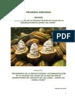 INFORME REPORTE DE  PRODUCCTIVIDAD DE CACAO ASPRO LAS LOMAS