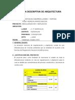 MEMORIA DESCRIPTIVA DE ARQUITECTURA tambo maravilca.doc