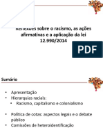 Reflexões sobre o racismo, as ações afirmativas e a aplicação da lei 12.990-2014.