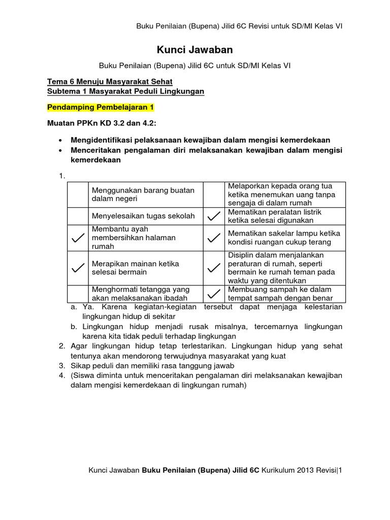 Kunci Jawaban Bupena 6c K13 Revisi
