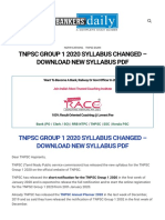 TNPSC Group 1 2020 Syllabus Changed - Download New Syllabus PDF -