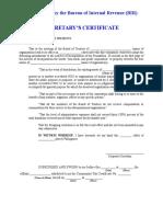 Sample of Secretary's Certificate