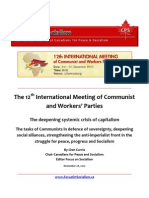 On the 12th International Meeting of Communist and Workers Parties December 3-5 2010, Johannesburg, South Africa