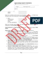 Draft PKWT (Perjanjian Kerja Waktu Tertentu) / Contoh Kontrak Kerja.