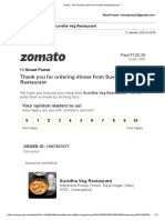 Gmail - Your Zomato order from Suvidha Veg Restaurant