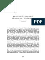 Discussion de l'intervention de Marie-José Corentin-Vigon, Lérès Guy
