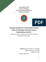Análisis del Liderazgo Estudiantil en la Universidad de Oriente Núcleo de Anzoátegui, Escuela de Ciencias Administrativas, Año 2011.docx