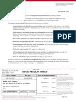 Hospital Income Benefit Plan Initial Premium Notice