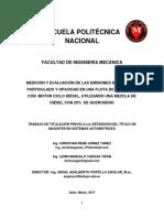 MEDICIÓN Y EVALUACIÓN DE LAS EMISIONES DE MATERIAL PARTICULADO Y OPACIDAD EN UNA FLOTA DE VEHÍCULOS CON  MOTOR CICLO DIÉSEL, UTILIZANDO UNA MEZCLA DE  DIÉSEL CON 20%  DE QUEROSENO