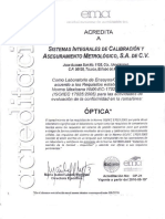 Acreditacion y alcance SICAMET (optica)