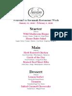 Noble Fare - Restaurant Week January 2020