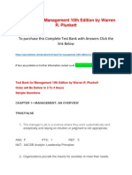Test Bank for Management 10th Edition by Warren R. Plunkett