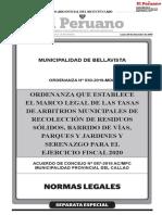 NUEVA ORDENANZA BELLAVISTA ARBITRIOS - INFORME ECONÓMICO FINANCIERO