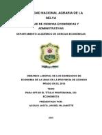 tesis sobre la demanda laboral en Tingo María