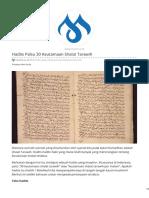 muslim.or.id-Hadits Palsu 30 Keutamaan Shalat Tarawih
