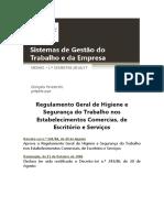 Regulamento geral de segurança e higiene do trabalho nos Estabelecimentos Comerciais