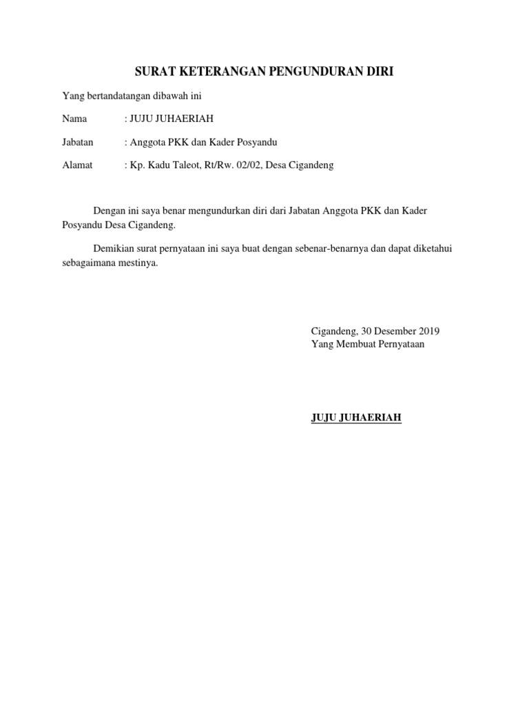 Surat Pengunduran Diri Kader Docx