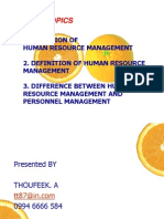 Evolution of Human Resource Management- by Thoufeek