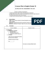 Detailed Lesson Plan in Teaching English Grade 10