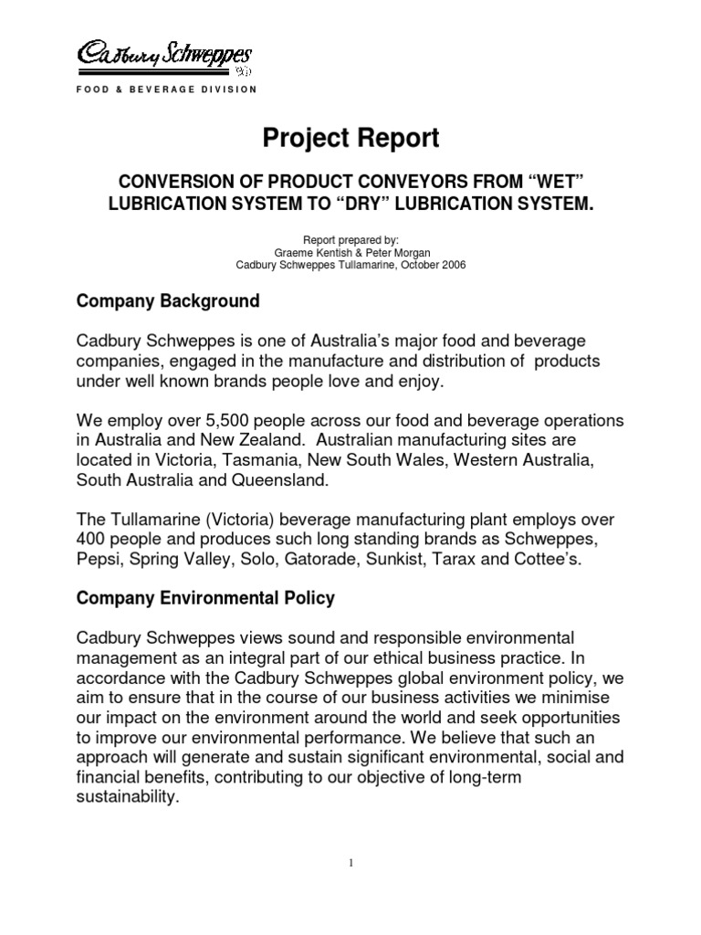 """Project Report: Conversion Of Product Conveyors From """"Wet"""