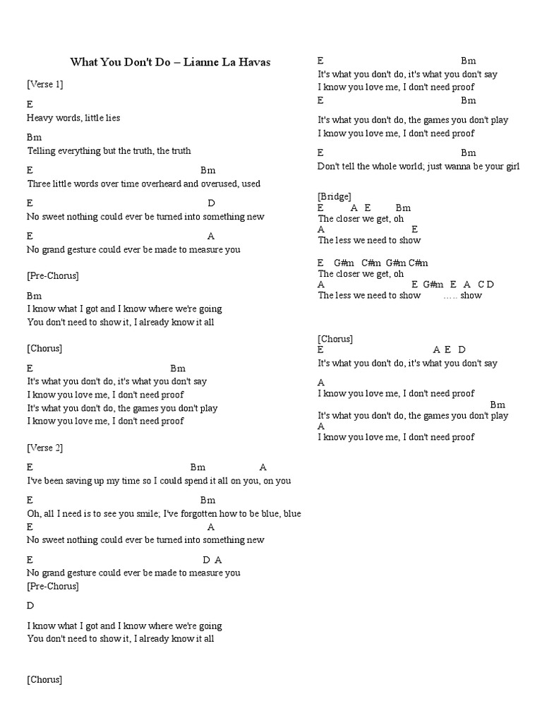 What You Dont Do   Lianne Le Havas Leadsheet   Song Structure ...