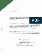 Carta de Renuncia presentada por el Ministro Eduardo Medina Mora