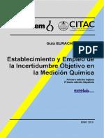 Establecimiento y Empleo de la incertidumbre objetivo en la medición quimica EURACHEM