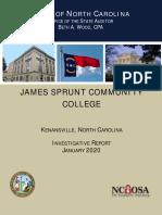 James Sprunt Community College Investigative Audit