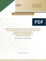 Disposiciones especificas Promocion, EMS 2020-2021